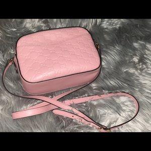 Pink Guccissima Small Signature Camera Bag